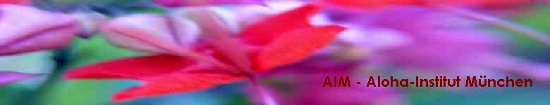 AIM - Banner mit bunten Blüten aus Hawai